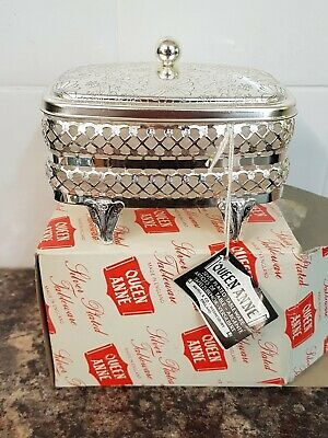 Beautiful Vintage Queen Anne Silver Plated Butter Dish Glass Liner Boxed Unused