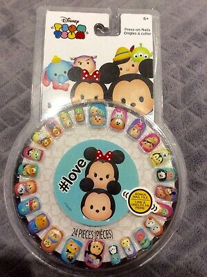 Disney Tsum Tsum Mickey Minnie Mouse 24 Pieces Press On False Nails File Gift