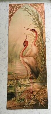Antique Mary Golay Art Nouveau Lithograph Print Decorative Panel Flamingo Birds