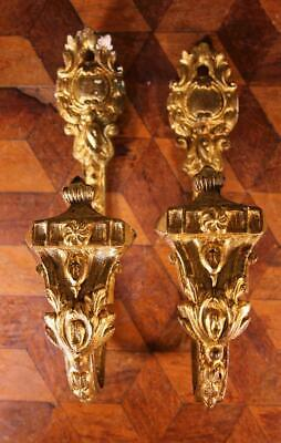 Vintage Antique Gilded Brass Bronze French Curtain Tie Back Hooks Ormalu Rococo