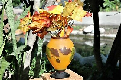 """Large Art Deco Galle """"STYLE"""" Cameo Raised relief Fall Autumn Leaves Glass Vase"""