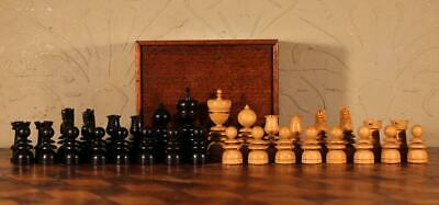 Superb Antique Victorian Wooden St George Chess Set with Box c1890 WOW !