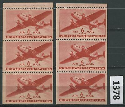 Dealer Dave US Stamps TWO #C25a, 6¢ BOOKLET PANES, TRANSPORT PLANE, MNH (1378)