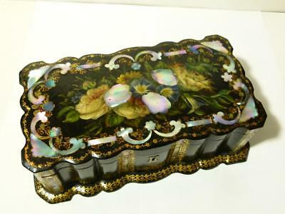 19thC Lacquered Papier Mache Gilt & Abalone Sewing Box & Contents Joseph Rodgers