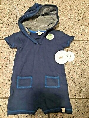 Burt's Bees Baby Toddler Boy 24 Month Hooded Shortall Romper Organic Blue New