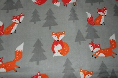 Flannelette Fitted Frolicking Foxes Grey Cot Sheet Handmade