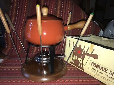 VINTAGE FONDUE SET PORCELAIN ENAMEL COMPLETE SET Red/Orange Pan-wood Base