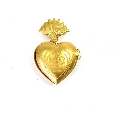 Small Sacred Heart Ex Voto Milagro Antique Gold Burning Heart Santos Locket