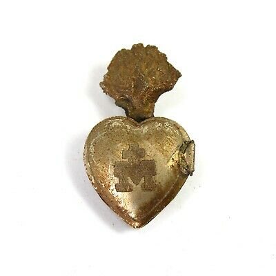 TINY Sacred Heart Ex Voto Milagro Antique Silver Burning Santos Saint Locket