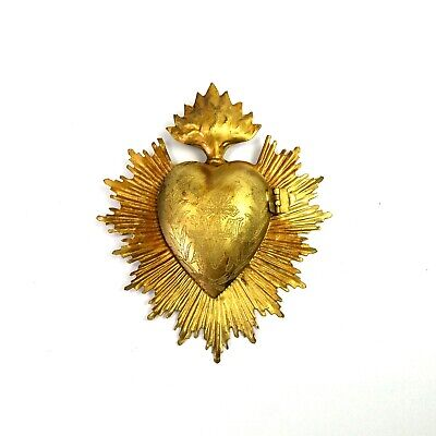 Sacred Heart Ex Voto Milagro Antique Gold Burning Heart Santos Locket Flaming