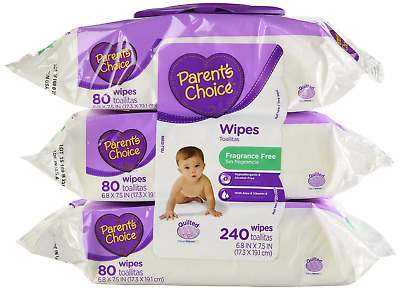 Parents Choice Baby Wipes, Fragrance Free, Quilted Soft, 240ct.