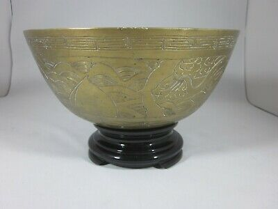 Large - Antique - Chinese - Ming Xuande - Brass Bowl - Engraved Dragon Phoenix