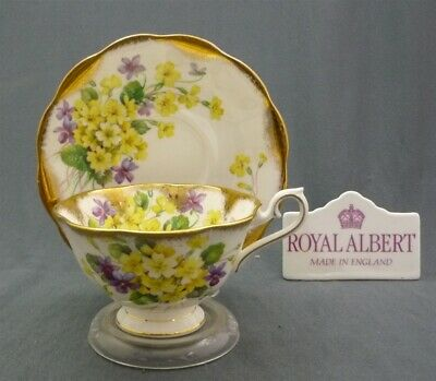 Royal Albert Wide Heavy Gold Yellow Purple Flowers Tea Cup & Saucer Duo Set