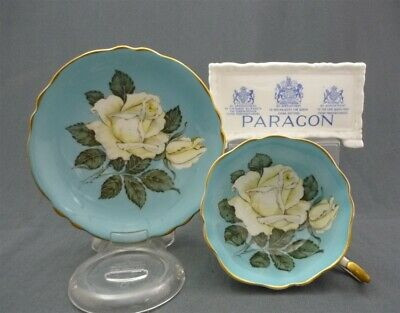 WIDE Hand Painted Paragon England Bone China White Rose Tea Cup & Saucer Duo