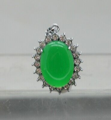 Impressive Vintage Chinese Green Stone Pendant Set In Stainless Steel & Crystals