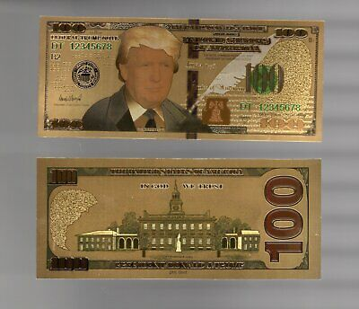 President Donald Trump Colorized 100 Dollars Bill Gold Foil Banknote US