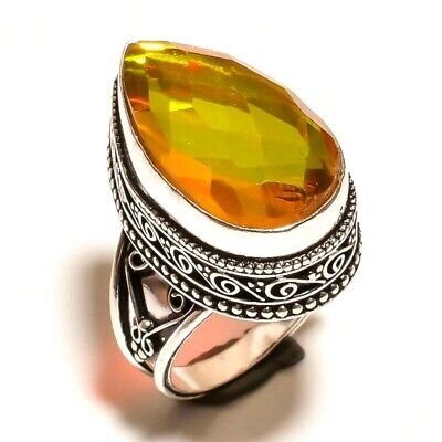 Charming Mystic Topaz Quartz Silver Carving Jewelry Ring Size 7.25 JA626