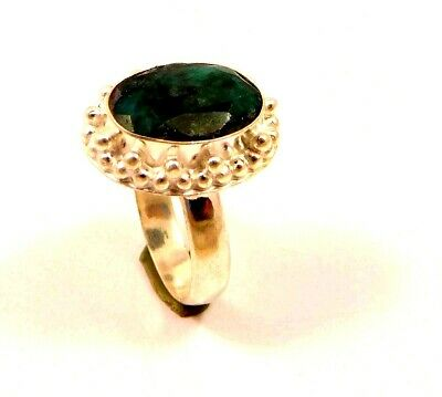 Charming Dyed Emerald Silver Designer Jewelry Ring Size 8 JC6374