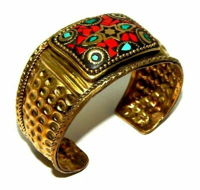 Awesome Tibetan Golden Turquoise Coral Design Handmade Cuff Jewelry CC84
