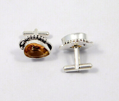Citrine Quartz .925 Silver Plated Handmade Cuff Link Jewelry JC8627
