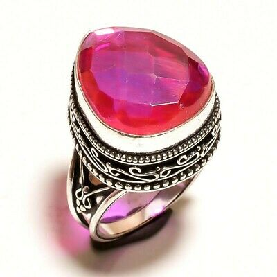Charming Mystic Topaz Quartz Silver Carving Jewelry Ring Size 7.50 JA633