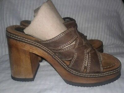 14b7ca62078ad VINTAGE CANDIES WOMENS Brown Leather Wooden Sandal Clogs Size 8 Block Heel  EUC