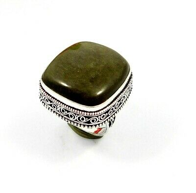 Charming Silver Eye Obsidian Silver Carving Jewelry Ring Size 9.25 JT2368