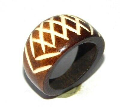 100% Natural Bone Carving Designer Handmade Fashion Jewelry Ring Size 9.5 R655
