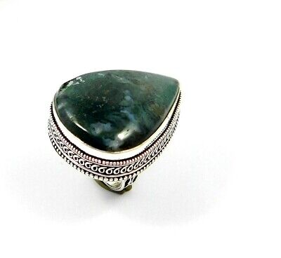 Charming Green Moss Agate Silver Carving Jewelry Ring Size 8.50 JT2379