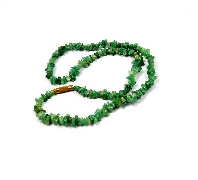Natural Green Jade Rough Uncut Polished Beads Necklace Jewelry JC9938