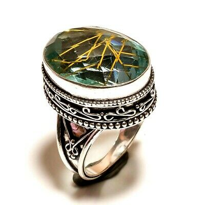Charming Golden Needle Rutile Silver Carving Jewelry Ring Size 6.75 JA613