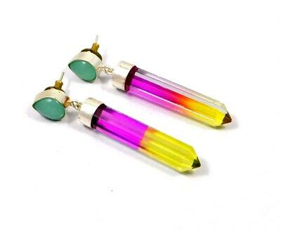 Chalcedony & Multi Tourmaline Quartz .925 Silver Plated Earring Jewelry JC8433