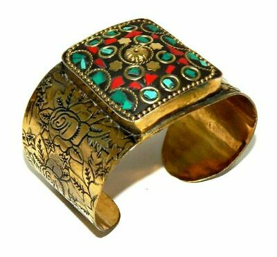 Awesome Tibetan Golden Turquoise Coral Design Handmade Cuff Jewelry CC78