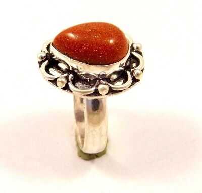 Charming Sunstone Silver Designer Jewelry Ring Size 7.25 JC6252