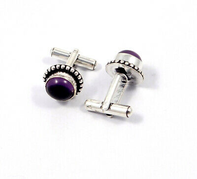 Amethyst Lace .925 Silver Plated Handmade Cuff Link Jewelry JC8623