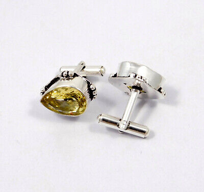 Citrine Quartz .925 Silver Plated Handmade Cuff Link Jewelry JC8618