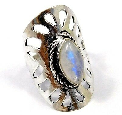 AAA Rainbow Moonstone .925 Silver Awesome Ring Jewelry Ring Size 7.75 JC7992