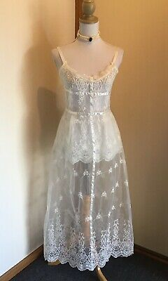 Vintage White Sheer Dress (wedding?) - Includes Free Accessories