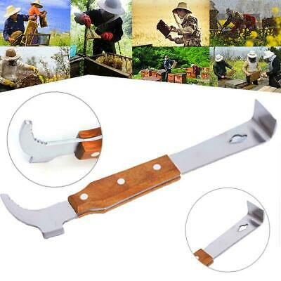 Wooden Handle Bee Hive Hook Scraper Stainless Steel Beekeeping super Tools J3H2