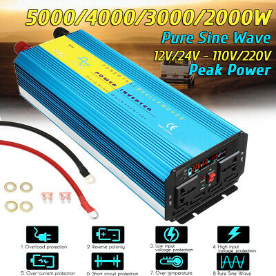 3000/4000/5000W Pure Sine Wave Inverter DC 12/24V to AC 110/220V Power Converter