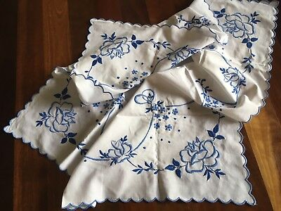 Pretty vintage linen embroidered Blue Rose Garland Small Cloth Craft or Use