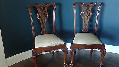 Pair of Antique Mahogany Chippendale Dining Chairs