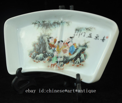 Collection china old famille-rose porcelain hand painted child plate Cb01B