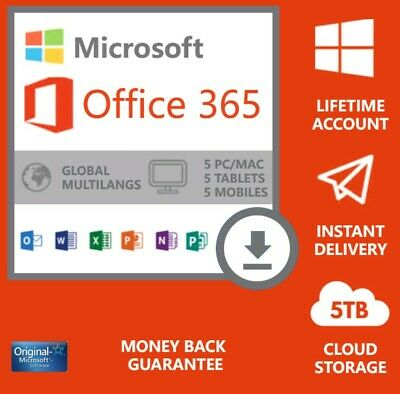 INSTANT Microsoft office 365 Pro, lifetime account 5 devices 5TB WIN MAC MOBILE