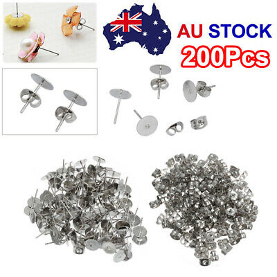 200PCS Earring Stud Posts Pads & Nut Backs Silvery Surgical Steel DIY Craft