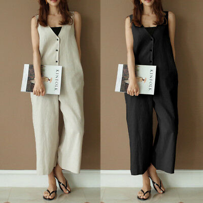 Womens Casual Bohemia Beach Sleeveless Ladies Loose Jumpsuit Romper Trousers