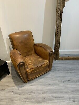 Antique vintage French Leather Club chair