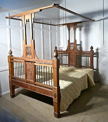 Colonial Style Antique 4 Poster 5ft Double Bed