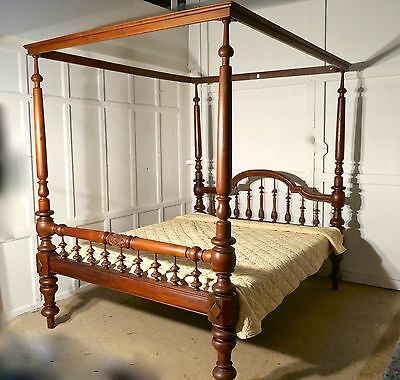 Colonial Raj Four Poster 6ft Bed, Anglo Indian Carved 4 Poster Large Double Bed