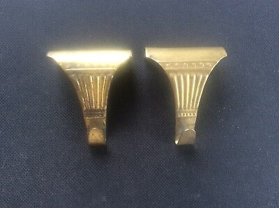 Pair 2 Vintage Edwardian Early c20th brass Picture Hooks Nice Design & Patina